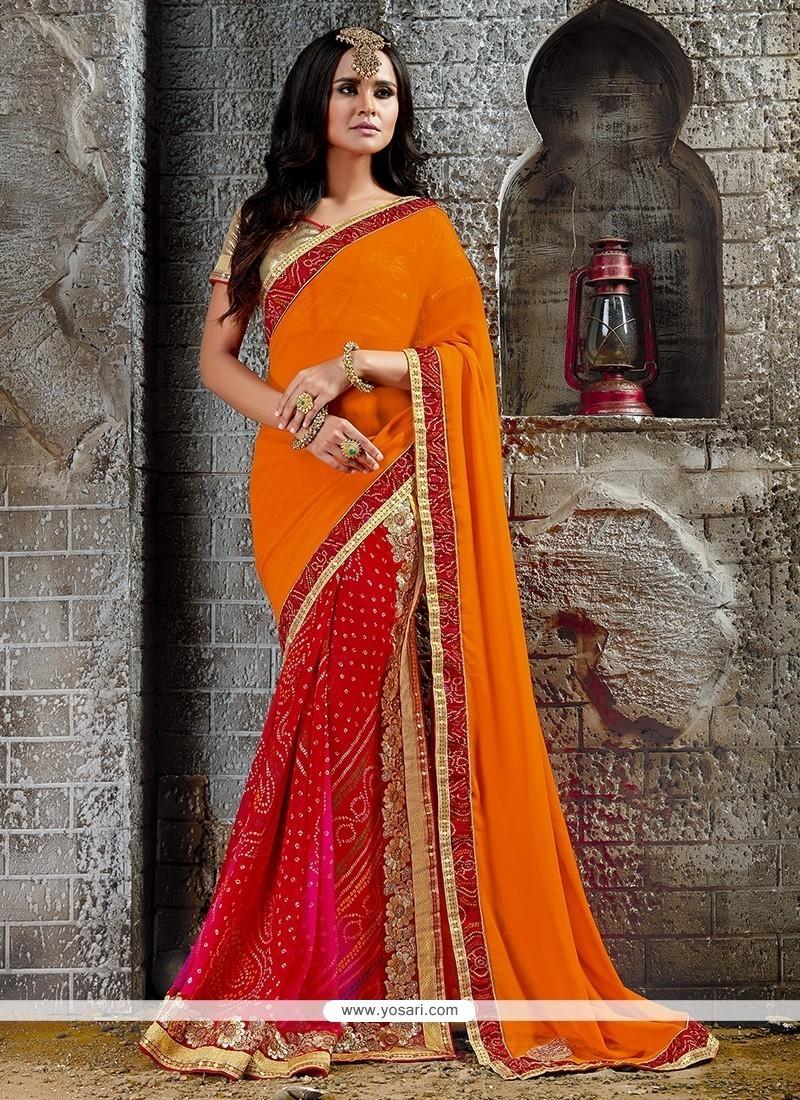 Gripping Print Work Orange And Red Designer Saree