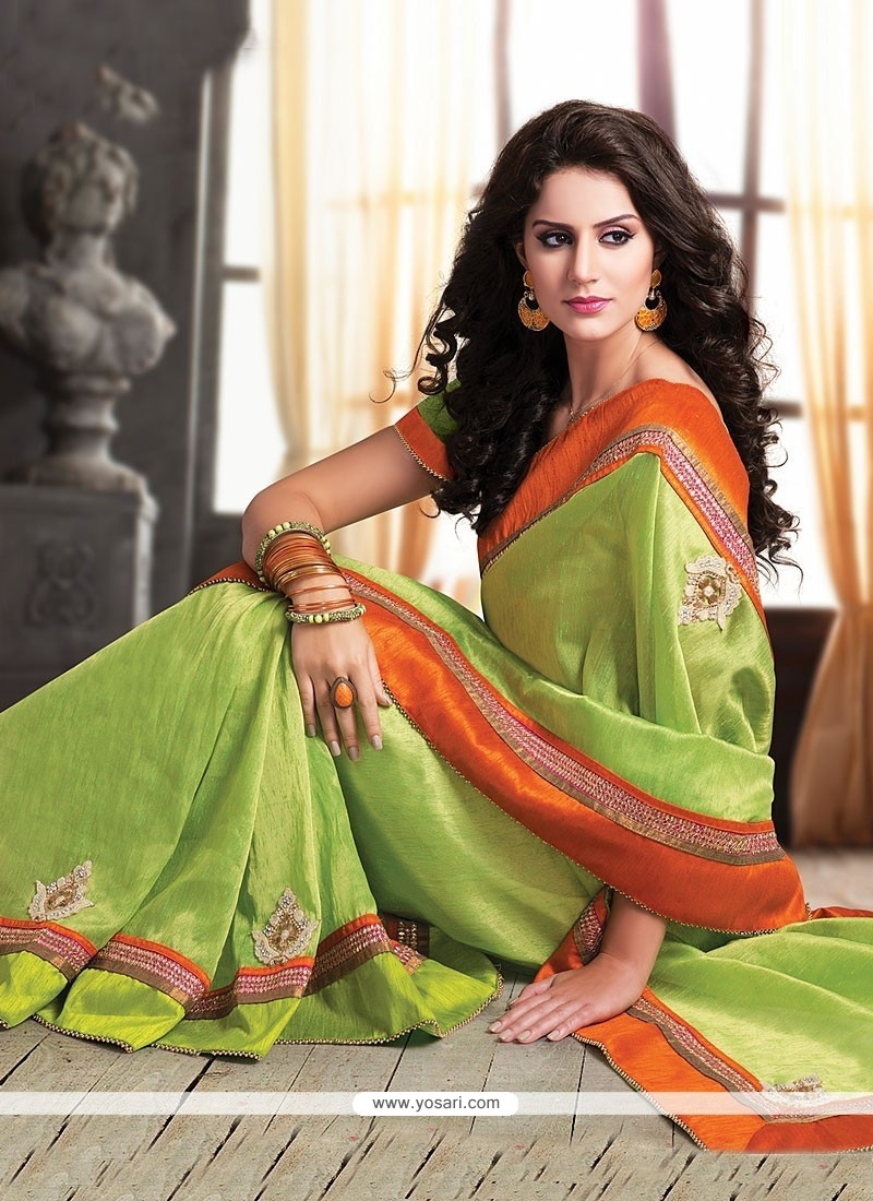 Green Pure Jute Party Wear Saree
