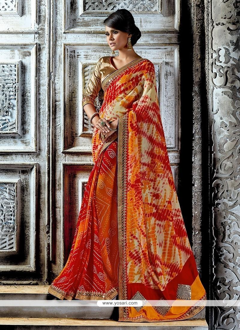 Ethnic Chiffon Satin Patch Border Work Designer Saree