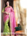 Pink And Green Pure Jute Saree