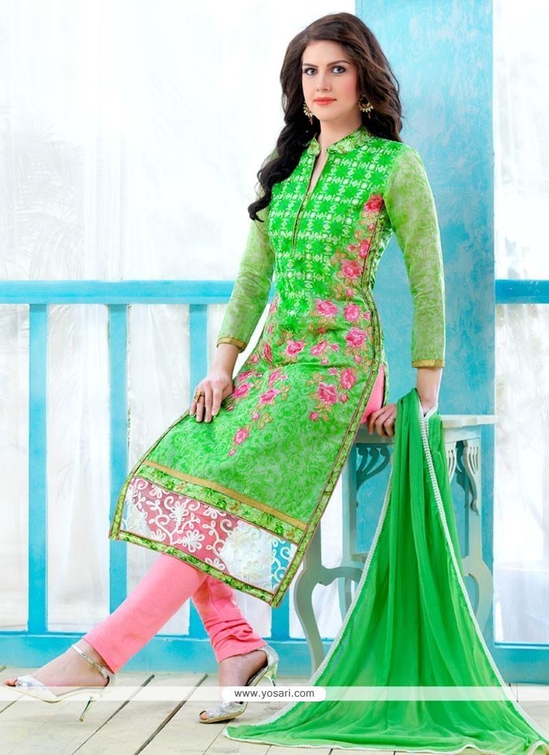 Winsome Cotton Embroidered Work Churidar Designer Suit
