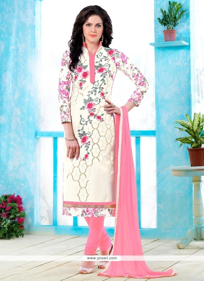 Winsome Cotton Cream Churidar Designer Suit