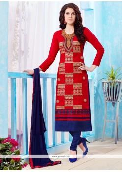 Tempting Red Embroidered Work Churidar Designer Suit