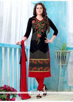 Embroidered Cotton Churidar Designer Suit In Black