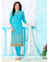 Irresistible Embroidered Work Turquoise Cotton Churidar Designer Suit