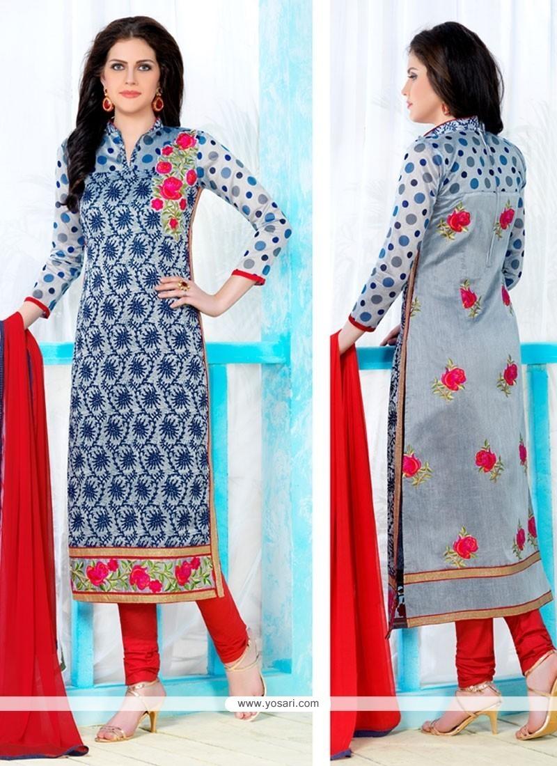 Distinguishable Blue Churidar Designer Suit