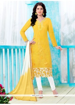 Girlish Cotton Embroidered Work Churidar Designer Suit