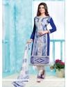 Gorgonize Embroidered Work Blue Cotton Churidar Designer Suit