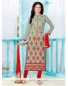 Amazing Embroidered Work Red Churidar Designer Suit