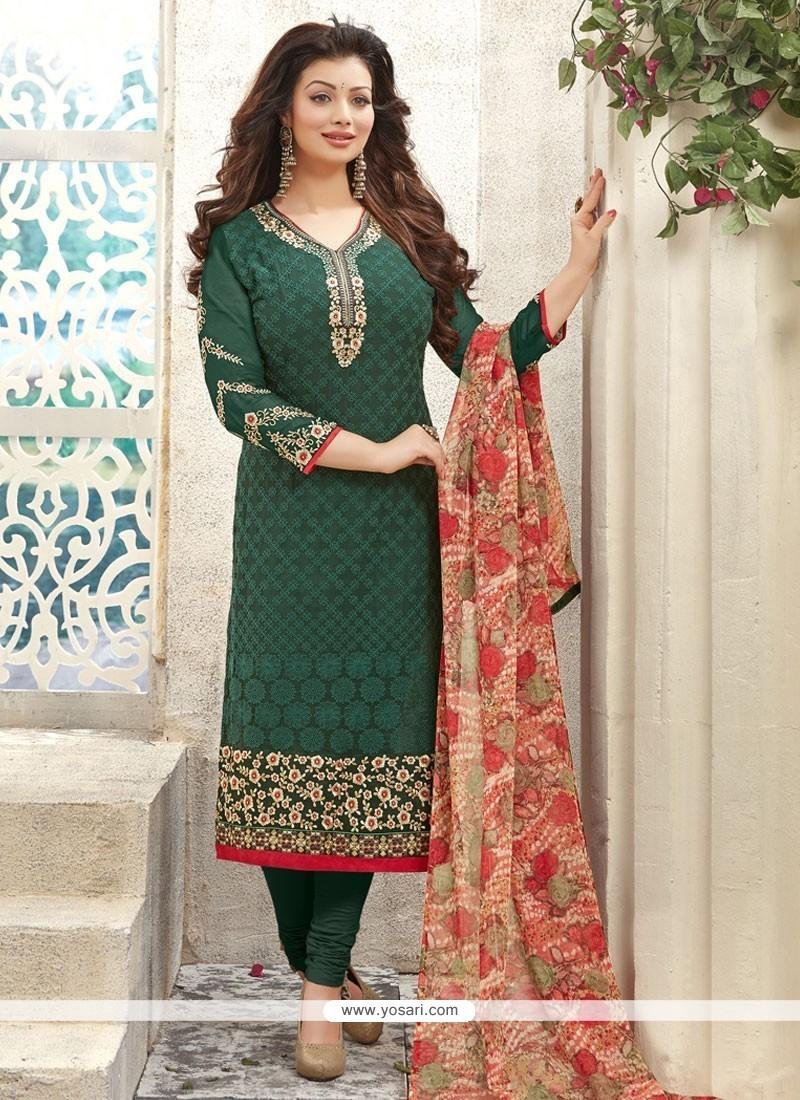 Classical Green Print Work Georgette Churidar Designer Suit