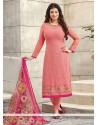 Charming Pink Georgette Churidar Designer Suit