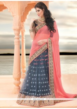 Grey And Peach Net Lehenga Saree