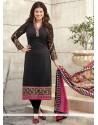 Conspicuous Georgette Black Print Work Churidar Designer Suit