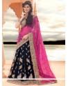 Blue And Pink Zari Work Lehenga Saree