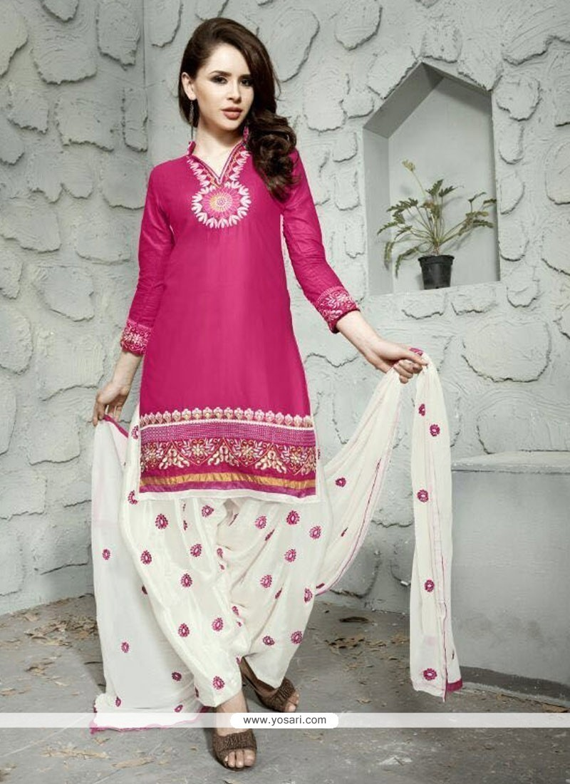 Embroidered Cotton Trendy Punjabi Patiala Suits In Hot Pink