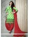 Awesome Cotton Green Trendy Punjabi patiala Suits