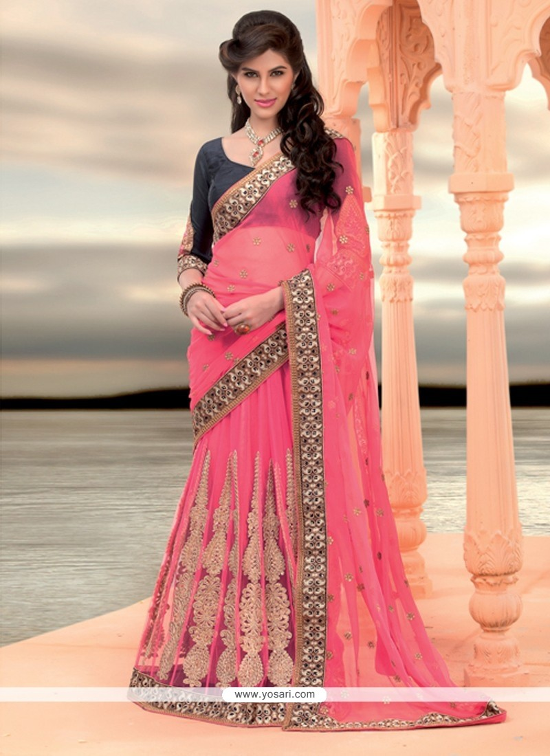 Hot Pink Net Lehenga Saree