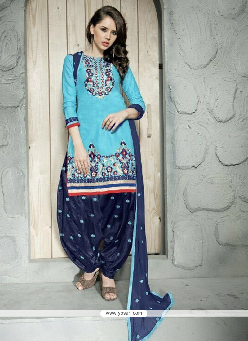 Shop online Buy Embroidered Cotton Trendy Punjabi patiala Suit in ...