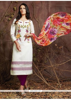 Extraordinary Embroidered Work Off White Designer Suit