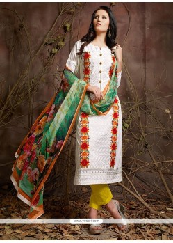 Gilded Cotton Embroidered Work Designer Suit