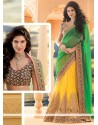 Fab Yellow And Green Net Lehenga Saree
