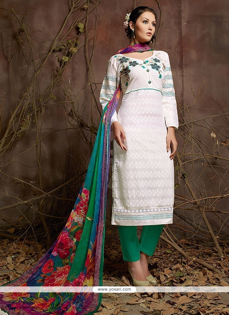 Distinctively Off White Cotton Designer Suit
