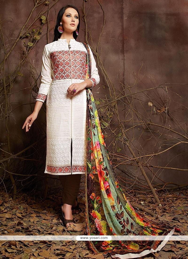 Lustrous Off White Lace Work Designer Suit