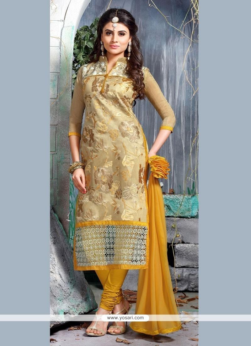 Intricate Resham Work Beige Chanderi Cotton Churidar Designer Suit