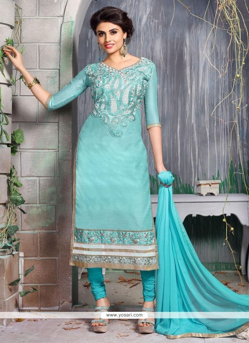 Turquoise Chanderi Cotton Churidar Designer Suit