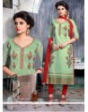 Picturesque Green Resham Work Churidar Designer Suit