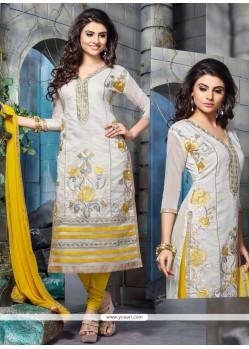 Lively Embroidered Work Off White Chanderi Cotton Churidar Designer Suit