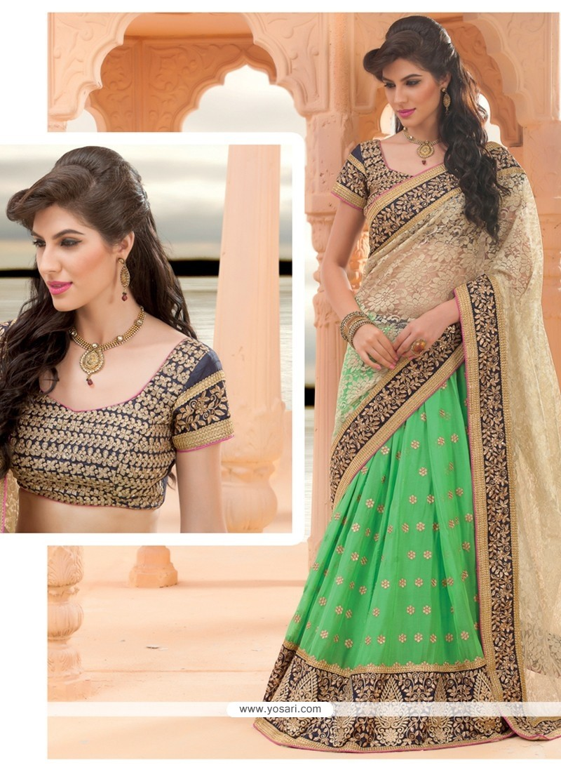 Sea Green And Cream Net Lehenga Saree