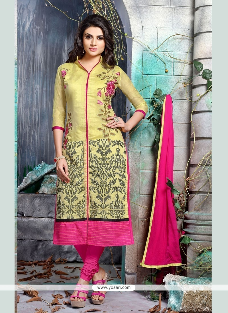 Delightful Embroidered Work Yellow Churidar Designer Suit