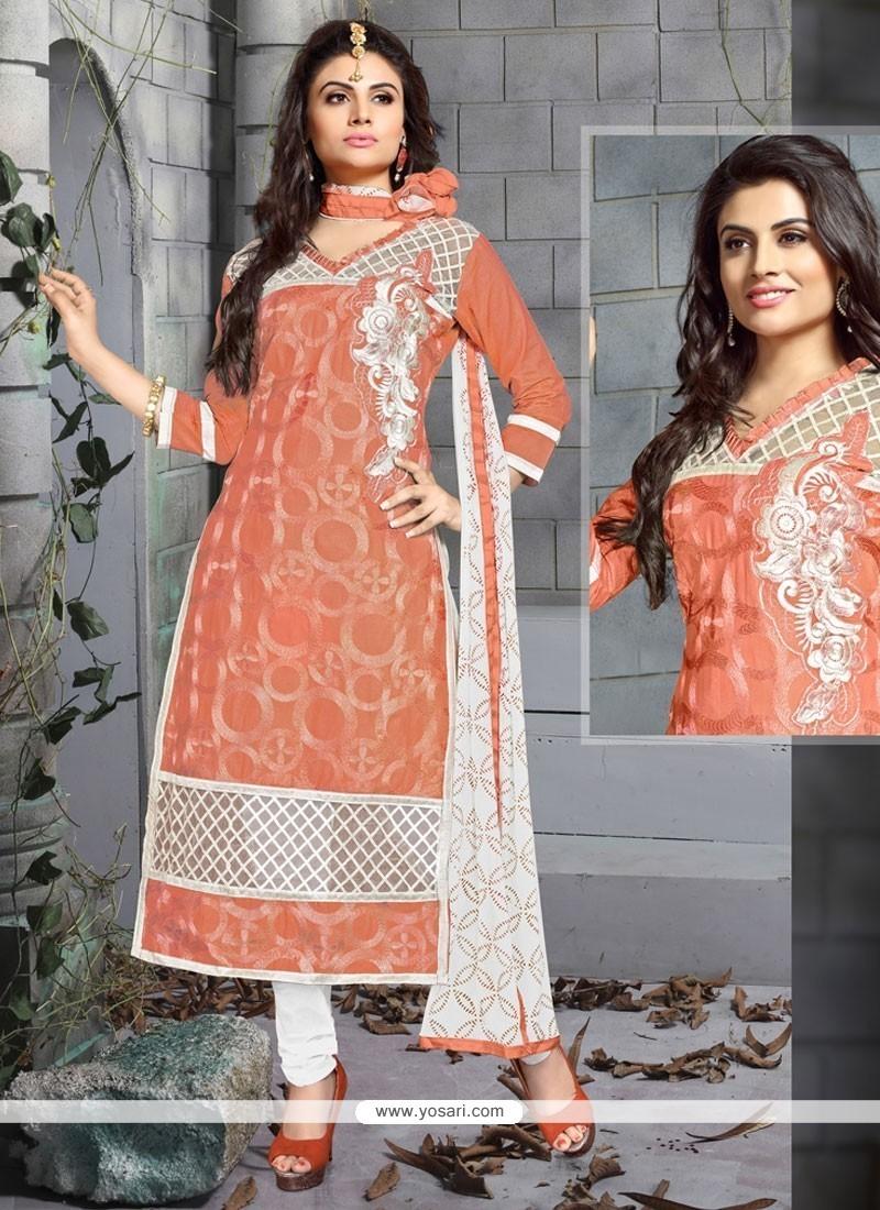 Glowing Resham Work Peach Chanderi Cotton Churidar Designer Suit