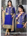 Wonderous Chanderi Cotton Blue Churidar Designer Suit
