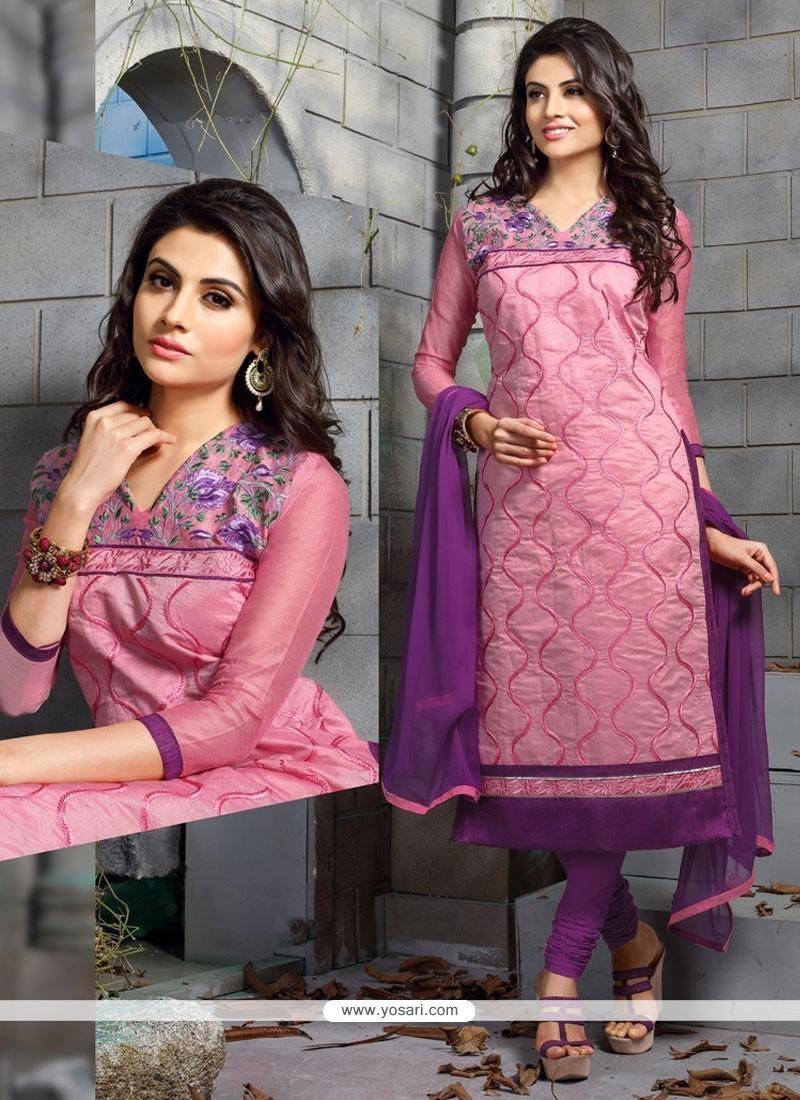 Savory Embroidered Work Chanderi Cotton Churidar Designer Suit