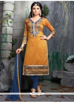 Alluring Orange Chanderi Cotton Churidar Designer Suit