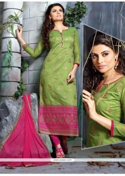 Customary Embroidered Work Churidar Designer Suit