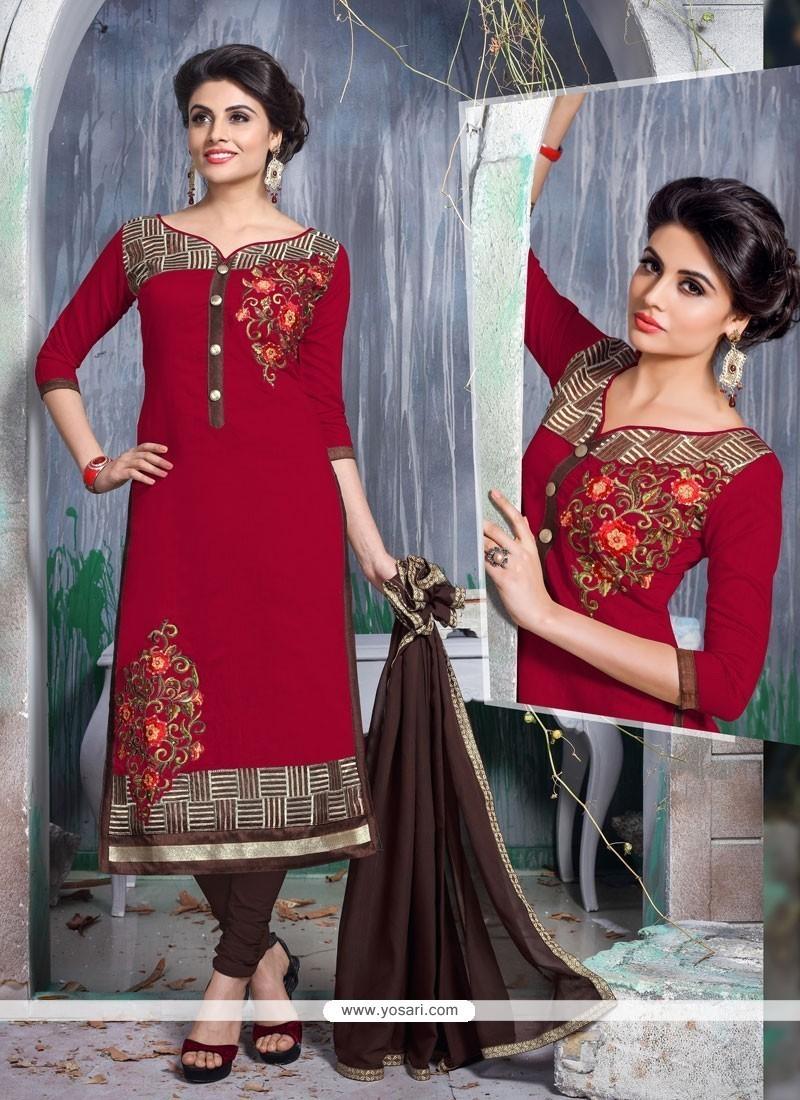 Adorning Chanderi Cotton Churidar Designer Suit