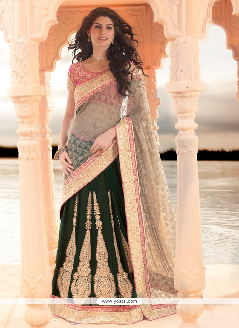 Amazing Green Zari Work Lehenga Saree