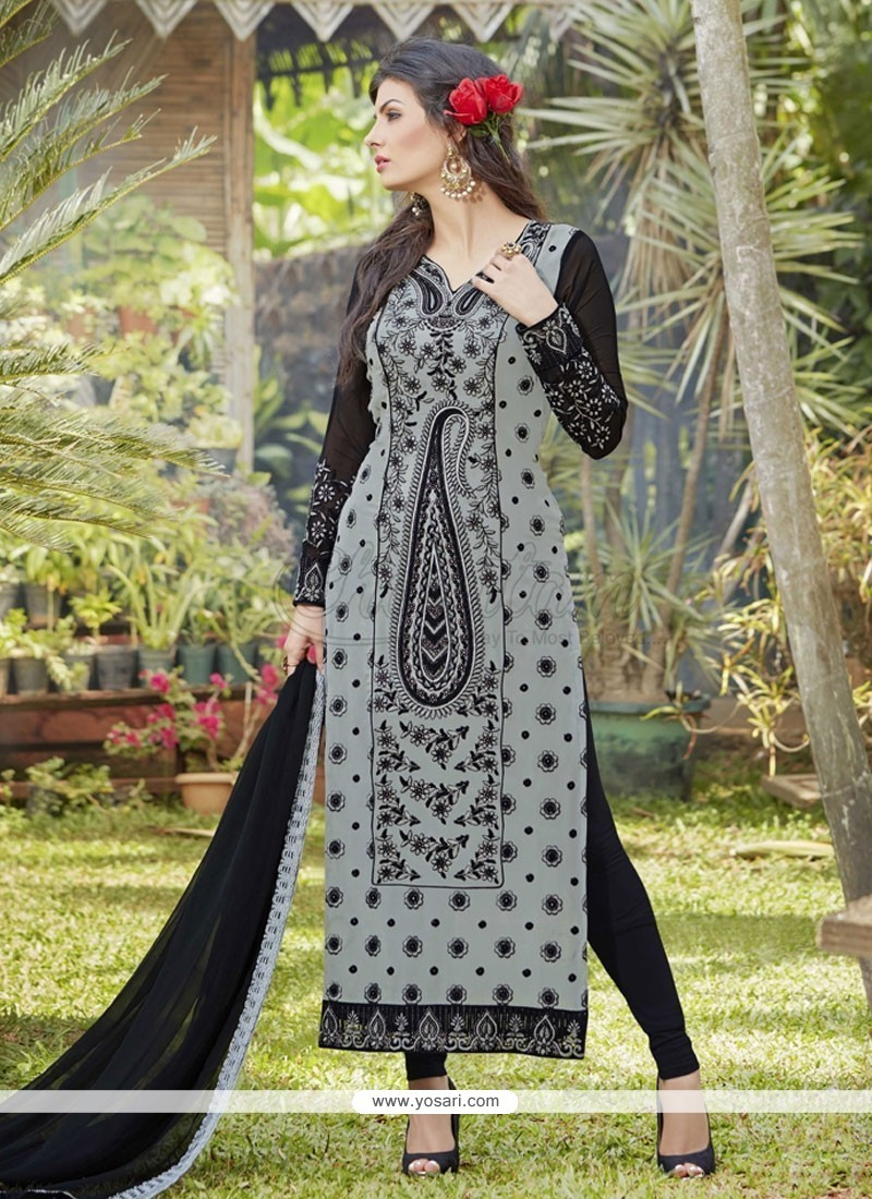 Paramount Embroidered Work Grey Georgette Designer Suit