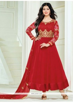 Ayesha Takia Red Georgette Anarkali Salwar Kameez