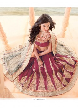 Rust Embroidery Work Lehenga Saree