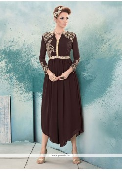 Sonorous Embroidered Work Brown Georgette Party Wear Kurti