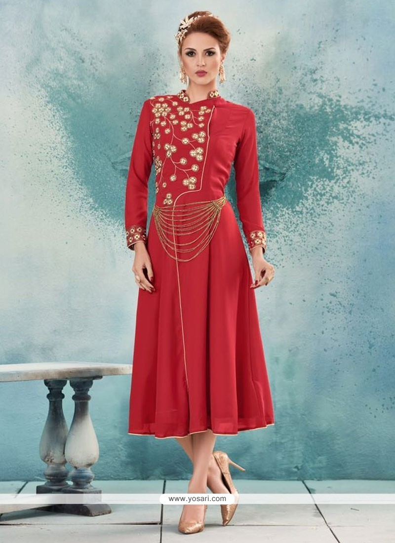 Intricate Georgette Embroidered Work Party Wear Kurti