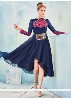 Desirable Georgette Navy Blue Embroidered Work Party Wear Kurti
