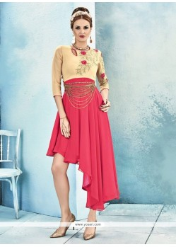 Impeccable Rose Pink Embroidered Work Georgette Party Wear Kurti