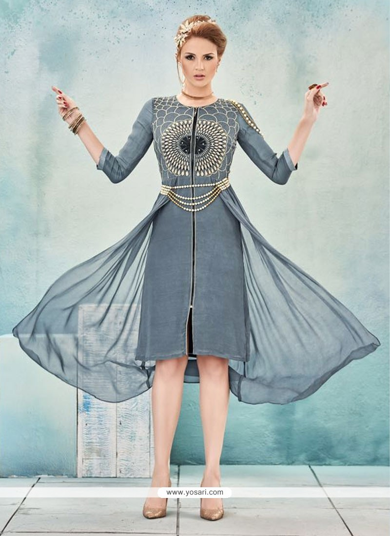 Especial Georgette Grey Embroidered Work Party Wear Kurti