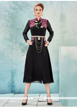 Integral Embroidered Work Black Party Wear Kurti
