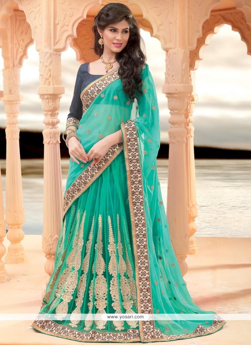 Turquoise Net Lehenga Saree